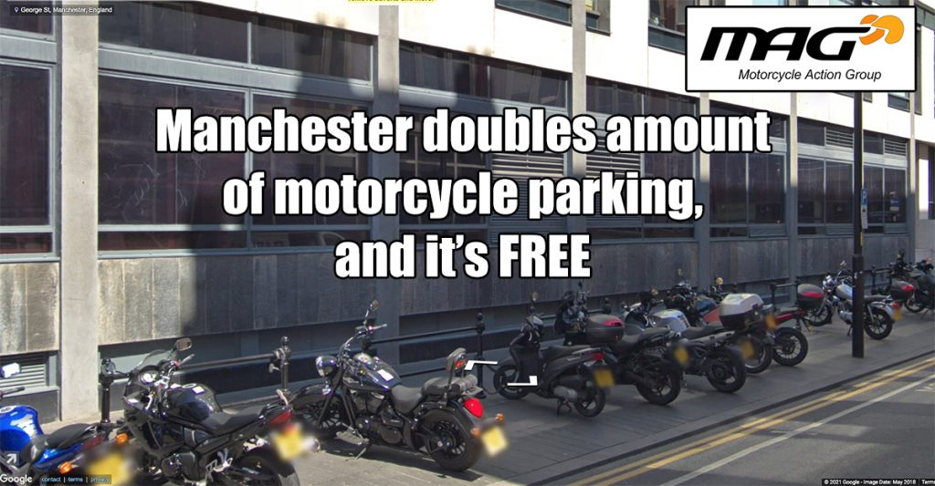 Manchester doubles motorcycle parking